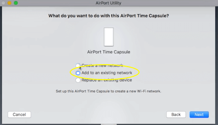 Time Capsule Add to Existing Network