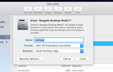 Disk Utility Formatting Page