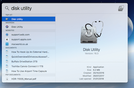 Disk Utility In Spotlight Search