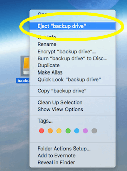 Right Click to Eject WD My Passport Drive