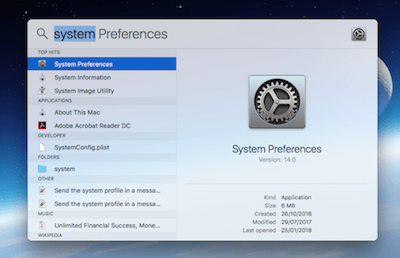 Spotlight Search System Preferences