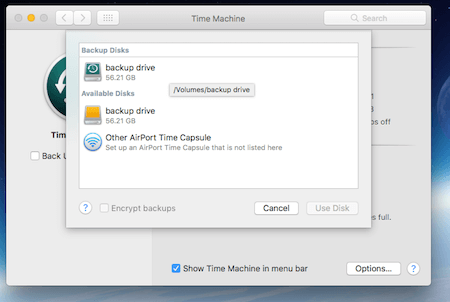Time Machine Available Drives