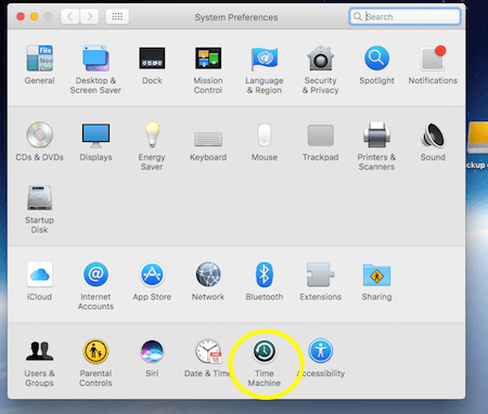 Time Machine in System Preferences