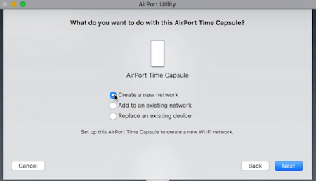 Time Capsule Create New Network