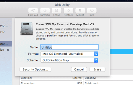 WD My Passport Disk Utility Formatting Page