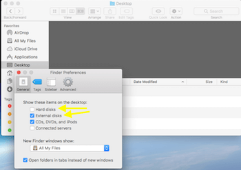 Finder Preferences Show External Drive