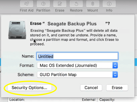 Seagate Backup Plus Format Security Option