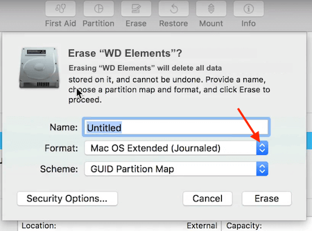 WD Elements Format Pop up Window