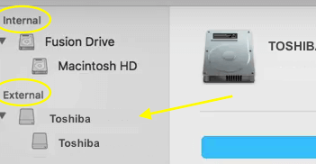 Toshiba Internal External drive list