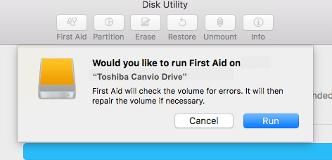 Would You Like To Run First Aid On Your Toshiba Hard Drive