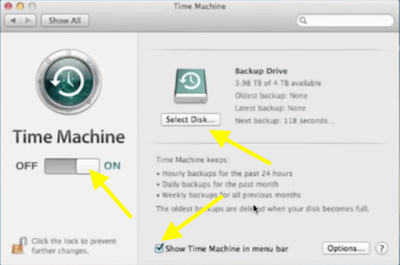 Samsung T5 Time Machine Set Up Window