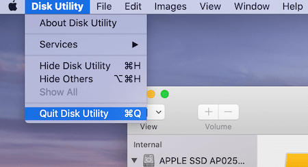 Disk Utility Quit Disk Utility