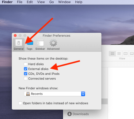 Finder Preferences Show External Disks