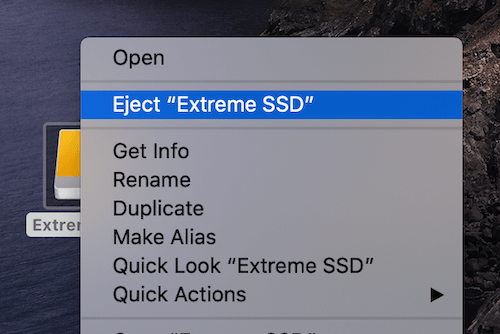 SanDisk Extreme Portable SSD Right Click Eject