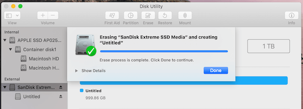 SanDisk Extreme SSD Formatting Done