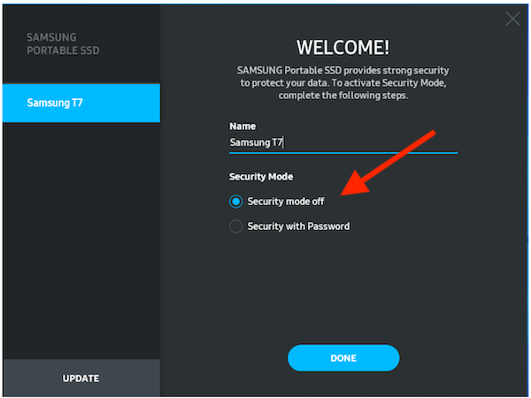 Ssmsung T7 Security Mode Off