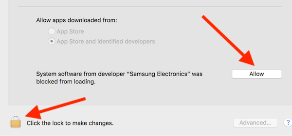 System Preferences Allow Samsung Software