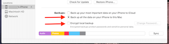 Radio Button To Backup iPhone To Macbook