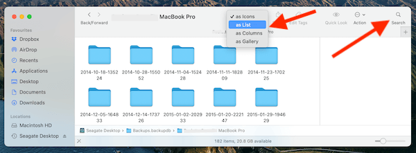 Change The View Of The Backup Files