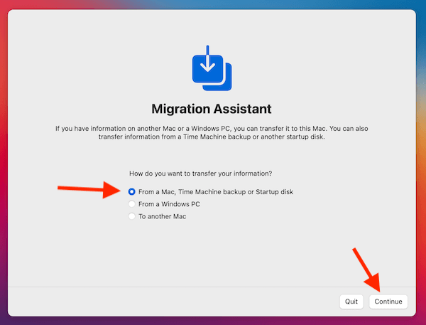 Migration Assistant 2nd Screen
