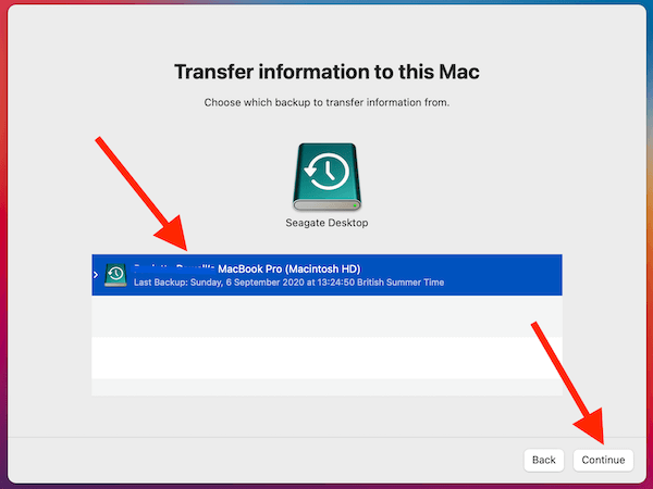 Pick Backup To Restore From In Migration Assistant
