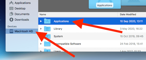 Click On Macintosh HD Then Applications